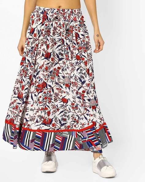 Floral Printed Maxi Skirt By Akkriti By Pantaloons ( Maroon )