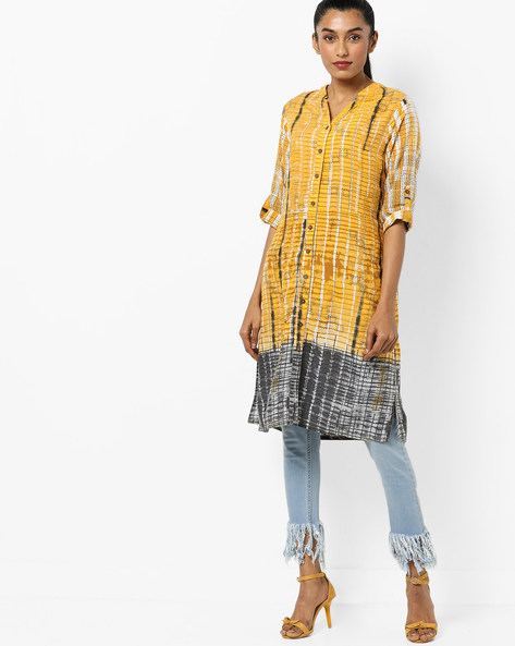 Printed Kurta With Roll-Up Tabs By Global Desi ( Yellow )
