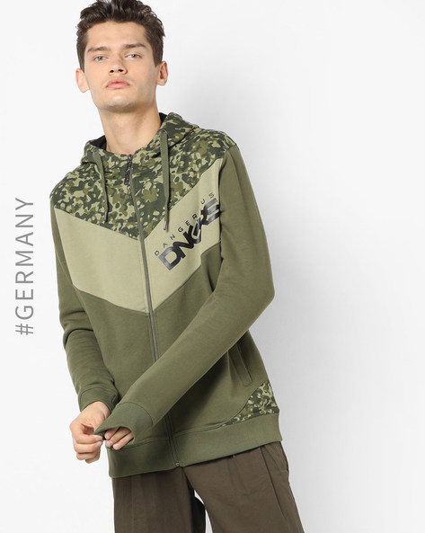 Camouflage Print  Hoodie With Front Zip Closure By Dangerous DNGRS ( Camouflage )