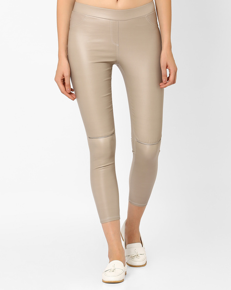 Cropped Leggings With Knee Zips By RIO ( Offwhite )