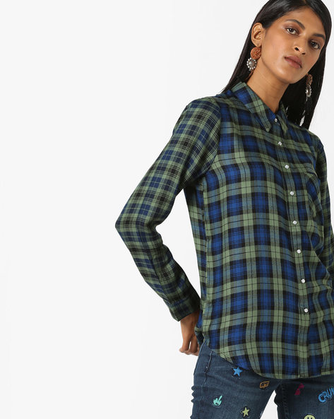 Checked Shirt With Patch Pocket By DNMX ( Olive )