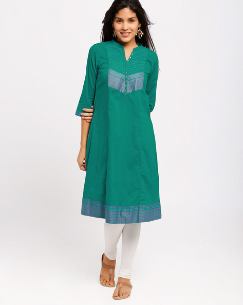Flared Handloom Kurta With Sequin Embellishments By AVAASA MIX N' MATCH ( Turquoise )