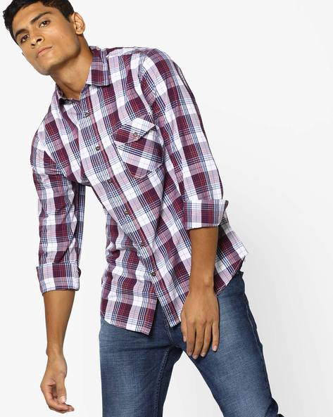 Yarn-Dyed Slim Fit Checked Shirt By AJIO ( Red )