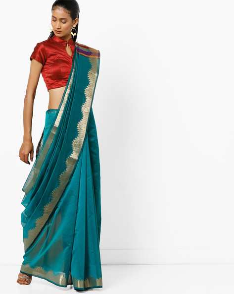 Saree With Striped Pallu By Florence ( Green )