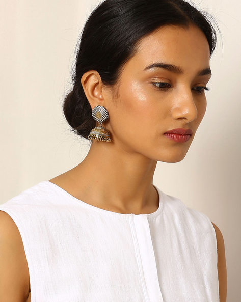 Two-Toned Brass Jhumka By Indie Picks ( Silver )