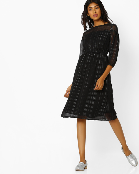 Striped Chiffon Dress With Tie-Up Back By Oxolloxo ( Black )
