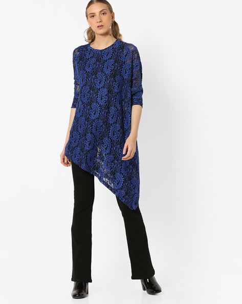 Lace Embroidered Top With Asymmetric Hem By And ( Blue )