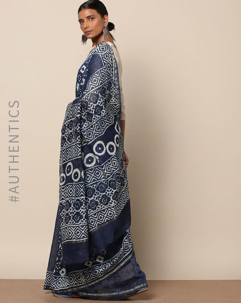 Handblock Indigo Print Chanderi Saree With Zari By Indie Picks ( Indigo ) - 460146823001