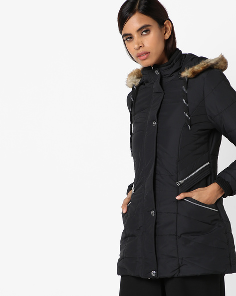 Quilted Jacket With Hoodie By Fort Collins ( Black )