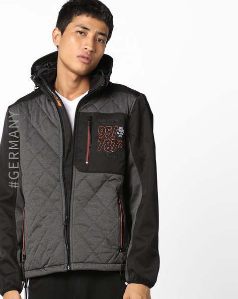 Colourblock Jacket With Quilted Panels By Tom Tailor ( Black )