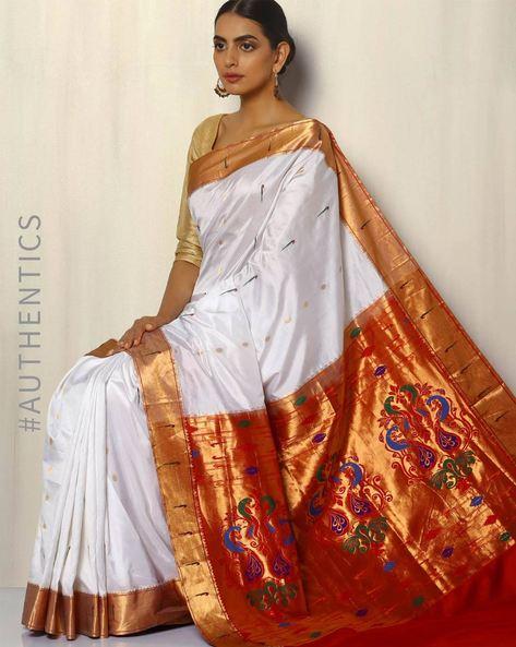 Handloom Paithani Pure Silk Saree With Zari Border By Pretty Woman ( White )