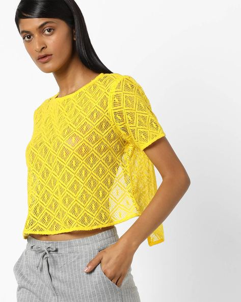 Sheer Boxy Top With Envelope Back By AJIO ( Yellow )