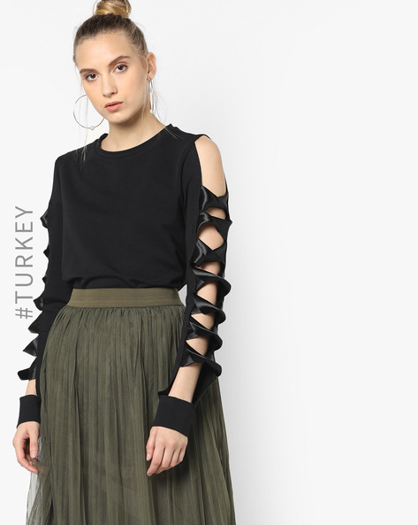 Sweatshirt With Cut-Out Sleeves By TRENDYOL ( Black )