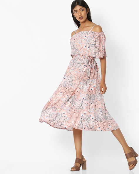 Floral Print Fit & Flare Dress By Tokyo Talkies ( Pink )