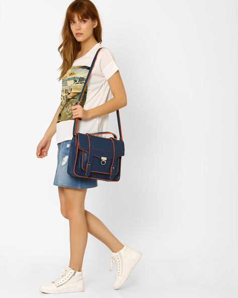 Satchel With Flap Closure By Tessa Moda ( Navy )