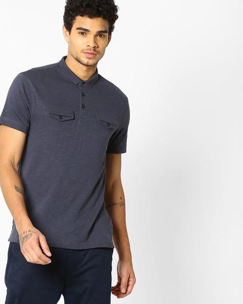 Slub Knit Polo T-shirt By LEVIS ( Blue )