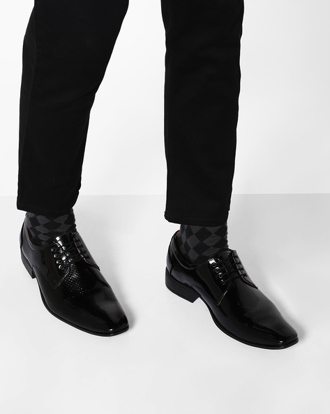 Textured Formal Shoes By Modello Domani ( Black )