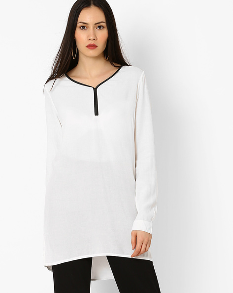 High-Low Tunic With Vented Hems By Vero Moda ( White )