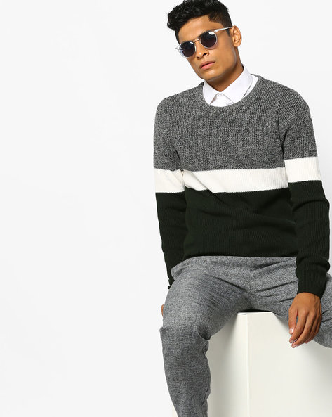 Colourblock Pullover With Ribbed Hems By AJIO ( Olive )
