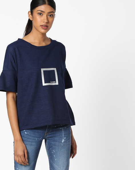 Graphic Print Top With Bell Sleeves By Teamspirit ( Navy )