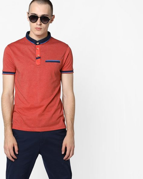 Checked Polo T-shirt By Fort Collins ( Orange )