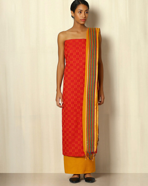 South Cotton Dress Material With Woven Border By Indie Picks ( Red ) - 460047100001
