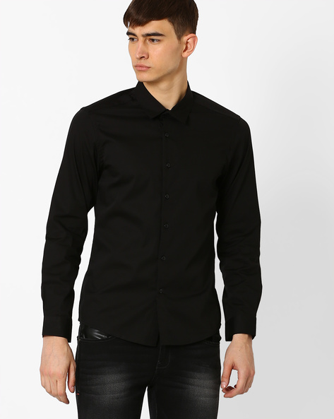 Slim Fit Shirt With Spread-Collar By VOI JEANS ( Black )