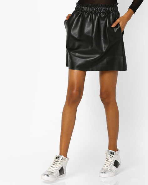 PU A-line Mini Skirt By AJIO ( Black )