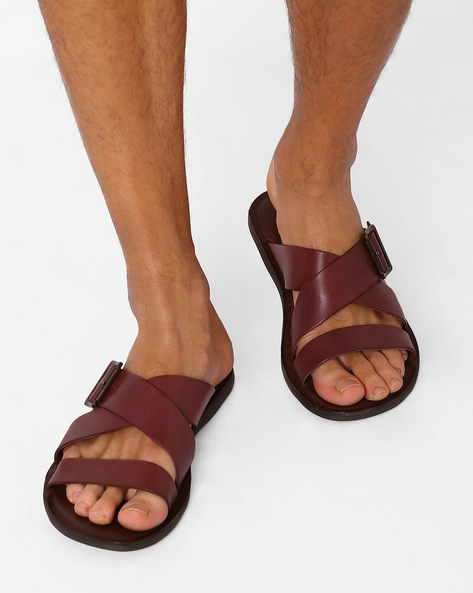 Strappy Leather Sandals By ARROW ( Burgandy )