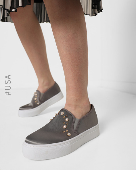 Slip-On Casual Shoes With Embellishments By QUPID ( Grey )