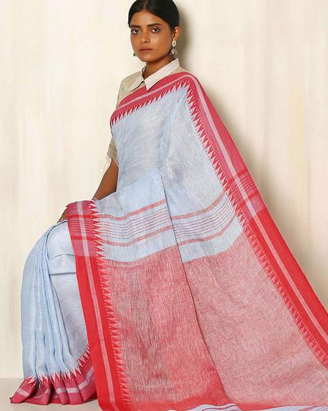 Handwoven Linen Saree With Cotton Contrast Border By Indie Picks ( Lightblue )