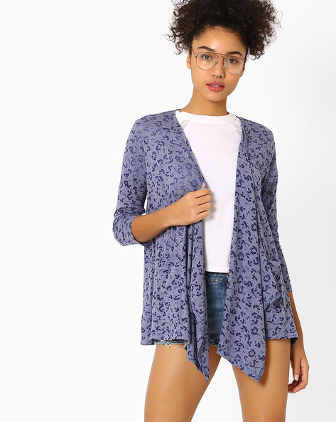 Printed Waterfall Shrug By AJIO ( Navyblue )