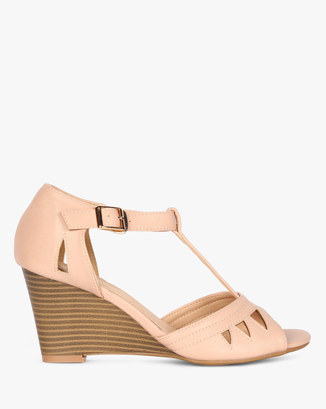 Peep-Toe Wedges With Ankle Strap By AJIO ( Nude )