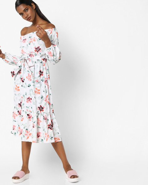 Floral Print Off-Shoulder Shift Dress By Sassafras ( Offwhite )
