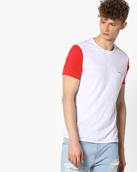 Cotton T-shirt With Contrast Sleeves By UNITED COLORS OF BENETTON ( White )