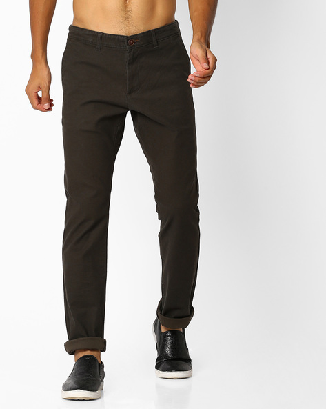 Mid-Rise Tapered Fit Twill Chinos By NETPLAY ( Olive )