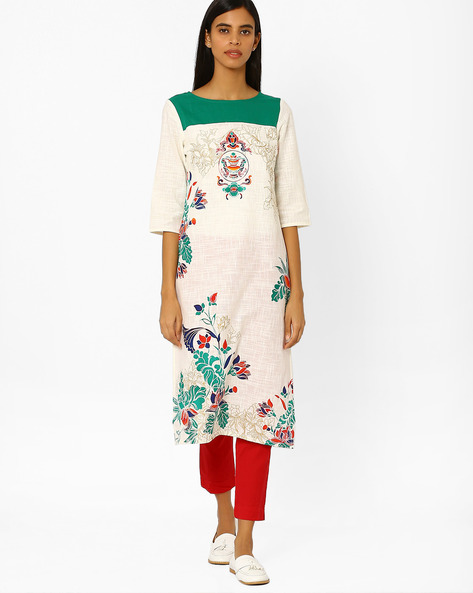 Printed Straight Kurta By AURELIA ( Cream )