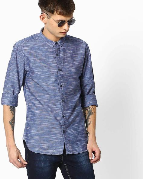 Striped Shirt With Curved Hemline By VOI JEANS ( Lightblue )