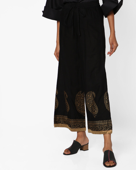 Printed Palazzos With Elasticated Waist By AVAASA MIX N' MATCH ( Black )