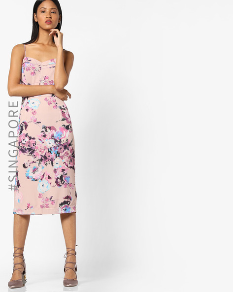 Strappy Printed Dress With Slit By MDS ( Pink )