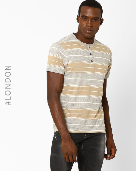 Striped Henley T-Shirt By Marks & Spencer ( Natural )