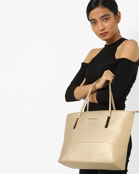 Textured Shoulder Bag By Lino Perros ( Golden )
