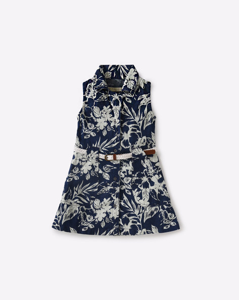 Floral Print Dress With Belt By GINI & JONY ( Assorted )