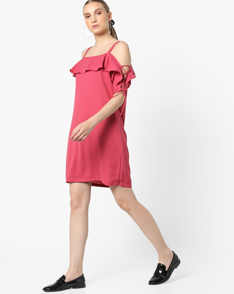 Strappy Dress With Tie-Up Sleeves By AJIO ( Coral )