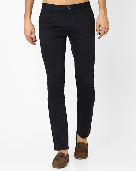 Isail Low-Rise Skinny Fit Trousers By Wills Lifestyle ( Blue )