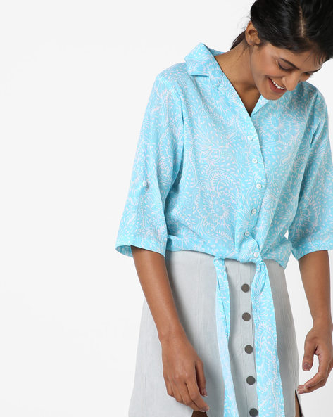 Floral Print Collared Top With Tie-Up By AYAANY ( Lightblue )