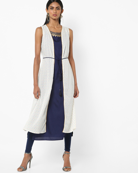 Sleeveless Open-Front Kurta With Tasselled Tie-Up By AJIO ( Offwhite )