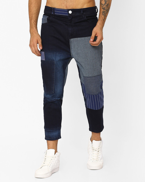 Cropped Mid-Rise Jeans With Patch Work By ADAMO LONDON ( Navyblue )
