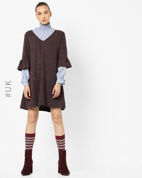 Knit Dress With Flared Sleeves By OEUVRE ( Red )