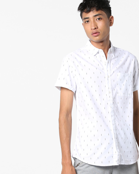 Printed Slim Fit Shirt With Patch Pocket By Jack & Jones ( White )